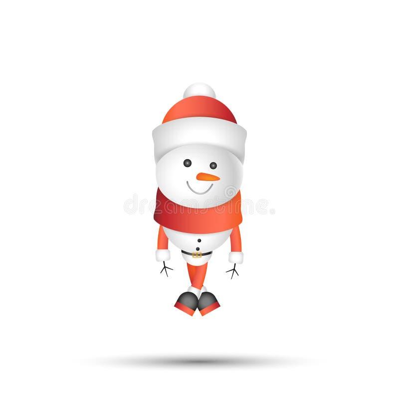 Schneemann in der roten Kappe auf weißem Hintergrund Vektorzeichentrickfilm-figuren für neues Jahr und Weihnachten vektor abbildung