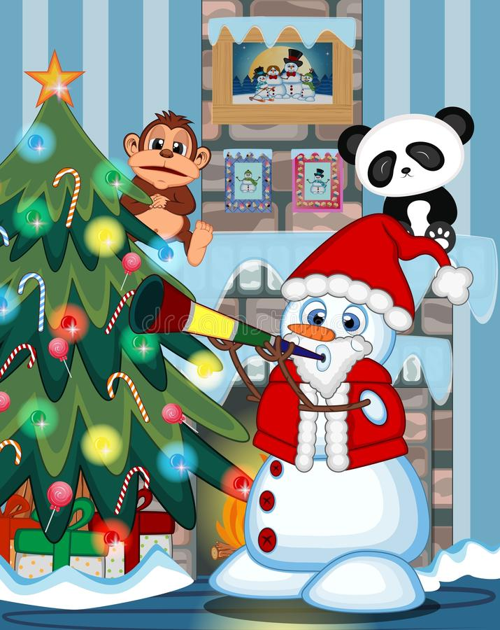 Schneemann, der Santa Claus Costume Blowing Horns mit Weihnachtsbaum und Feuerplatz Illustration trägt vektor abbildung
