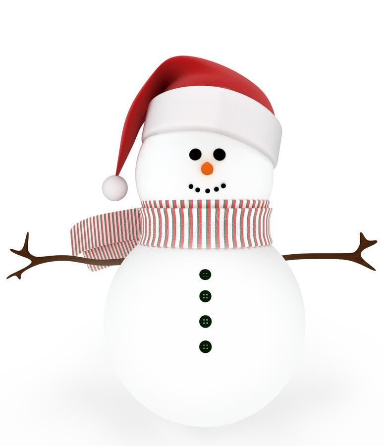 Schneemann in der Schutzkappe von Weihnachtsmann lizenzfreie abbildung