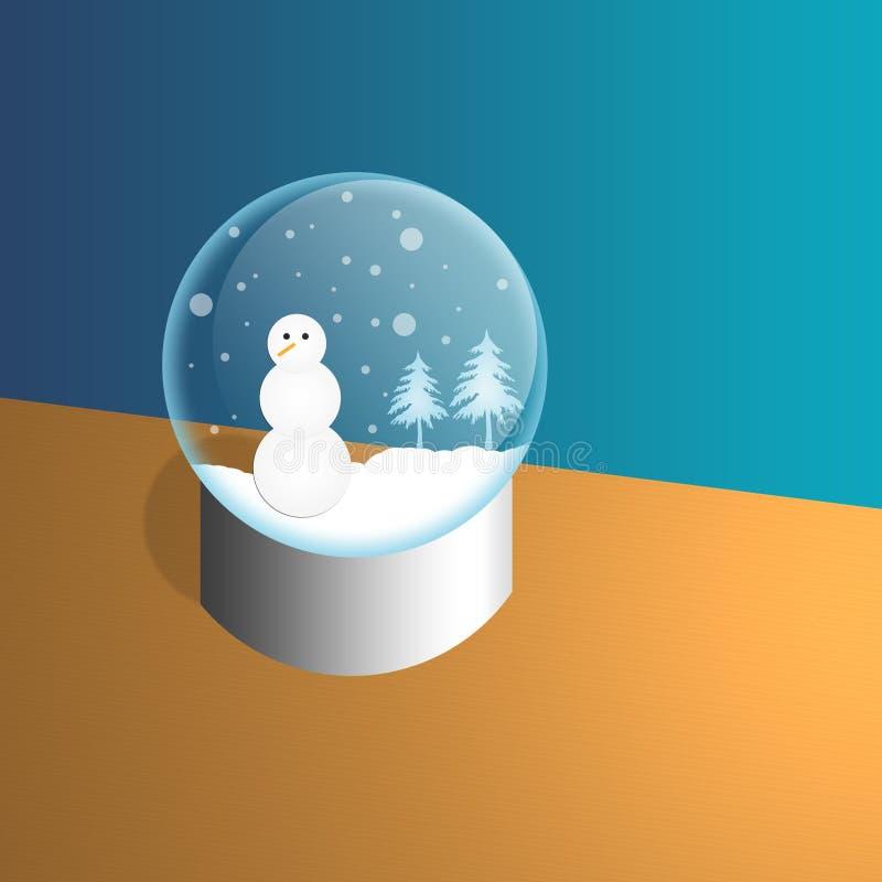 Schneemann in einem Snowglobe lizenzfreie stockfotografie