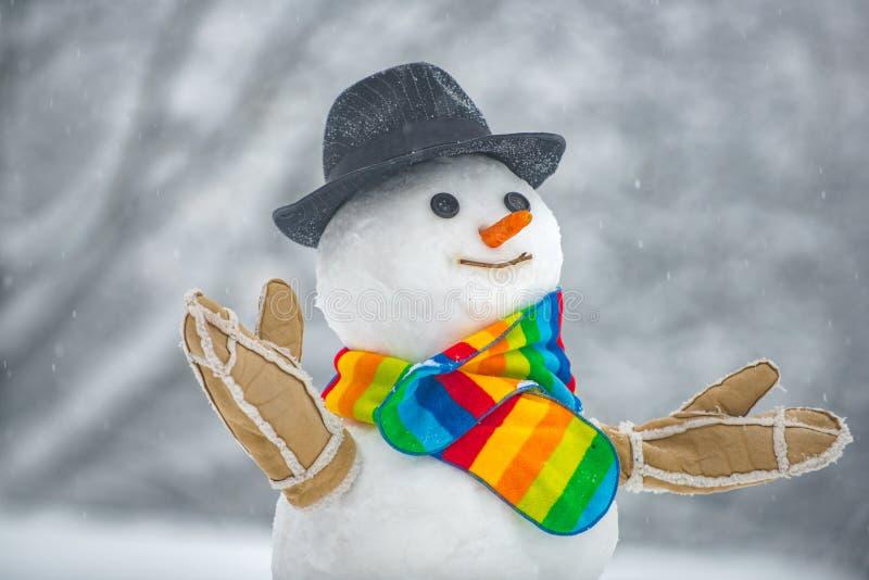 Schneemann lokalisiert auf Schneehintergrund Winterhintergrund mit Schneeflocken und Schneemann Frohe Weihnachten und frohe Feier stockfotografie