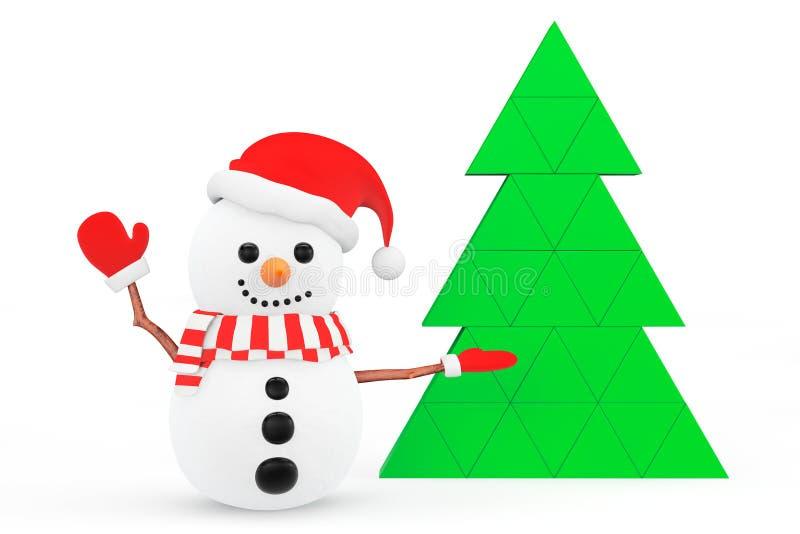 Schneemann mit abstraktem Weihnachtsbaum vektor abbildung