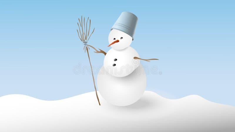 Schneemann mit einem Eimer auf seinem Kopf und einem Besen lizenzfreie abbildung
