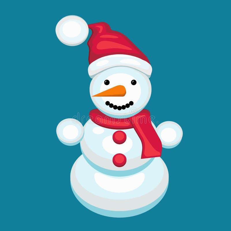 Schneemann mit einem Schal in einer roten Kappe vektor abbildung