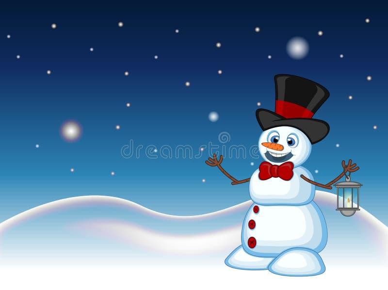 Schneemann mit einer Laterne und dem Tragen eines Hutes mit Stern-, Himmel- und Schneehügelhintergrund für Ihr Design Vector Illu lizenzfreie abbildung