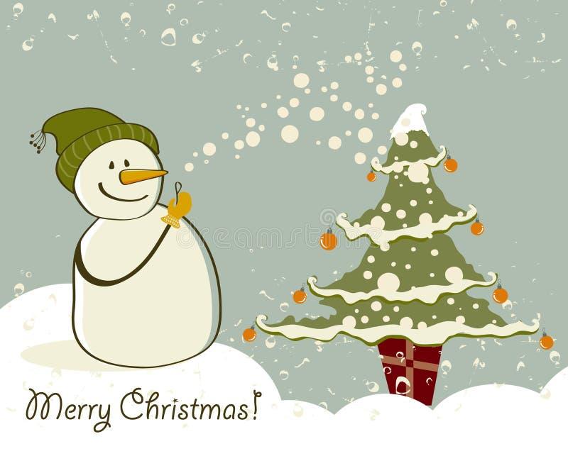Schneemann mit Geschenken neben Weihnachtsbaum stock abbildung