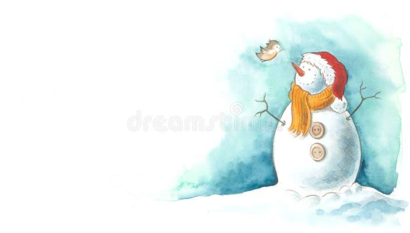 Schneemann mit kleinem Vogel lizenzfreie abbildung