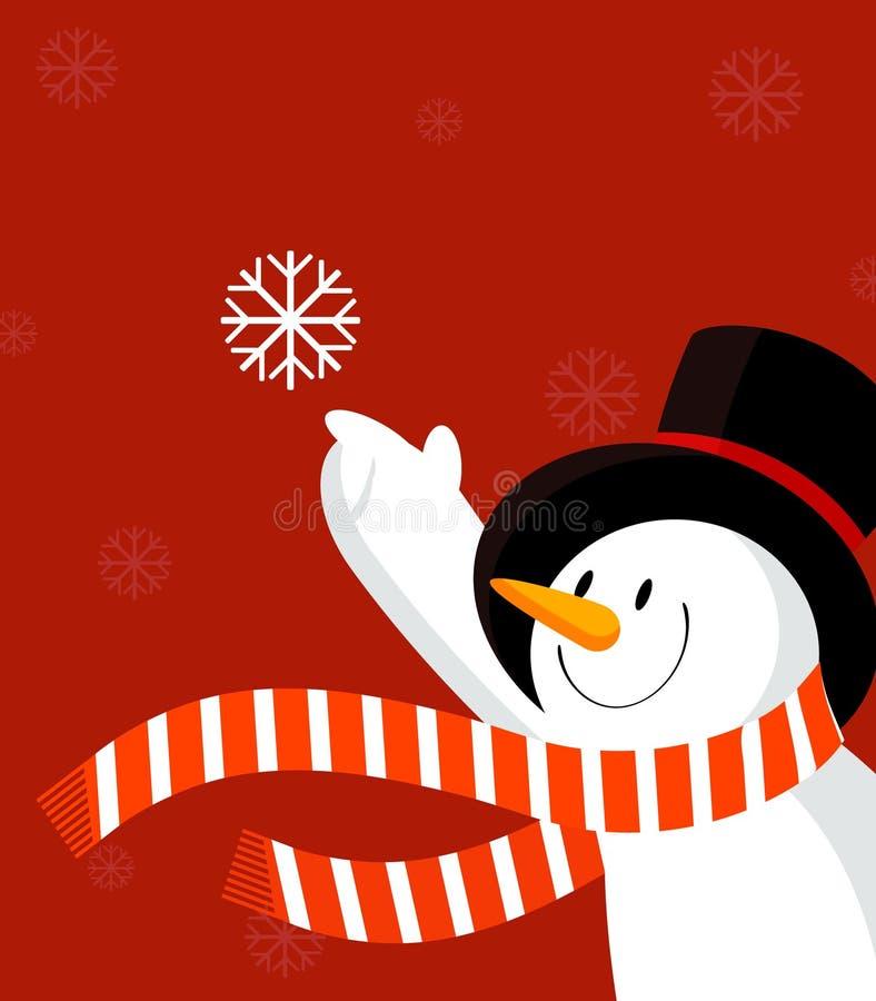 Schneemann mit Schneeflocke. Rot. vektor abbildung