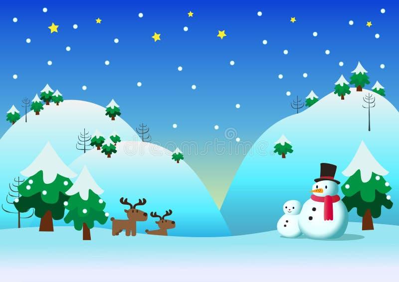 Schneemann mit Schneethemahintergrund lizenzfreie abbildung