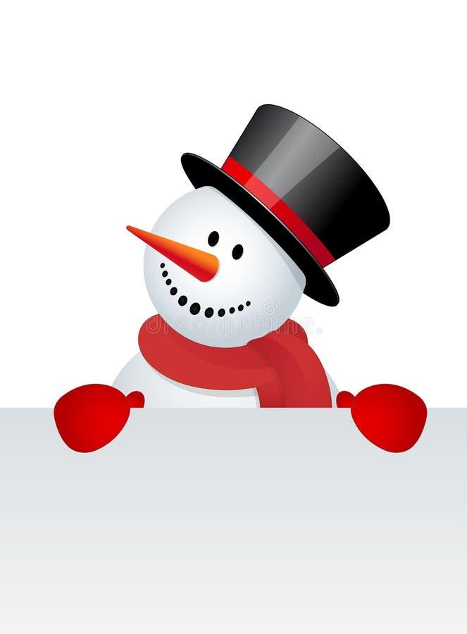 Schneemann mit weißem freiem Raum stock abbildung