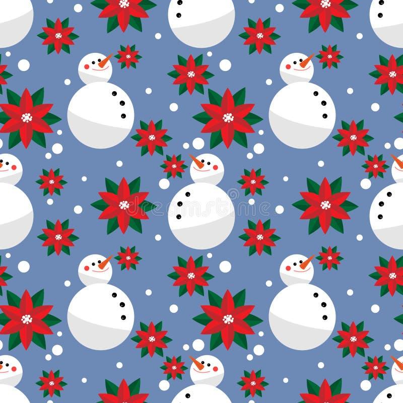 Schneemann mit Weihnachtsblumen und nahtlosem Muster der Schneeflocke lizenzfreie abbildung