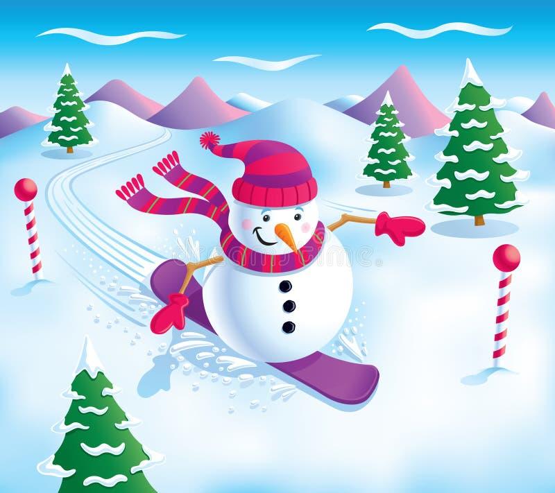 Schneemann-Snowboarding auf den Steigungen vektor abbildung