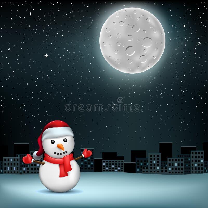 Schneemann spielt Mond sity die Hauptrolle lizenzfreie abbildung