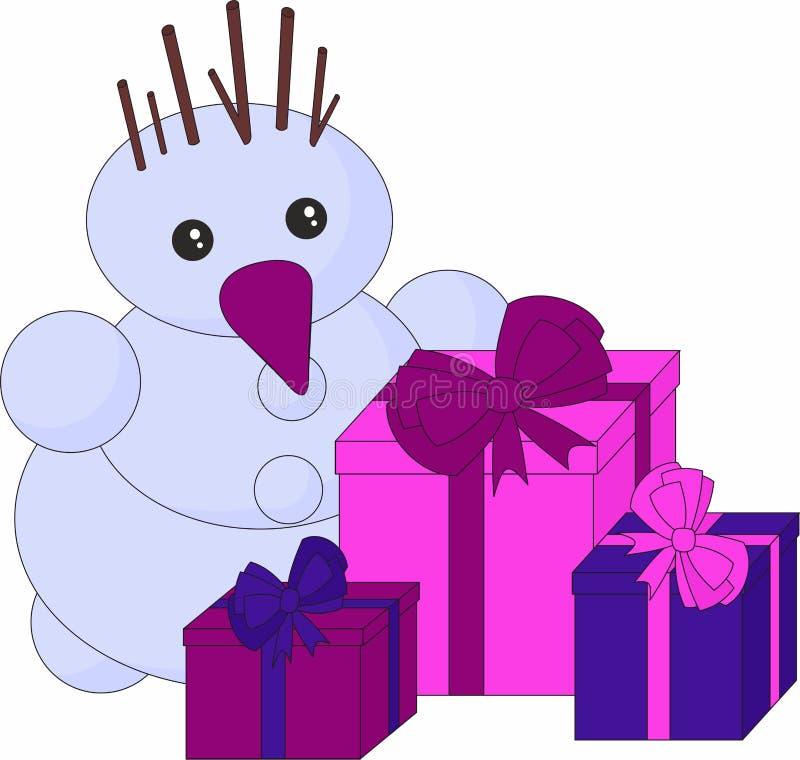 Schneemann und Geschenke auf weißem Hintergrund Weihnachtsmann und roter Ball Nette Karte der Winterurlaubkarikatur, Karte der fr lizenzfreie abbildung