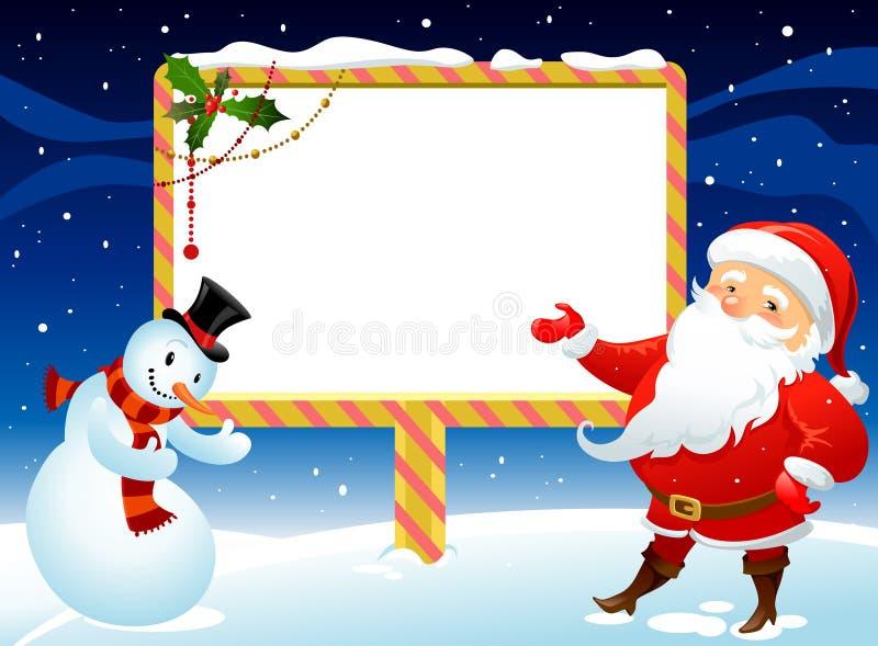 Schneemann und Weihnachtsmann lizenzfreie abbildung