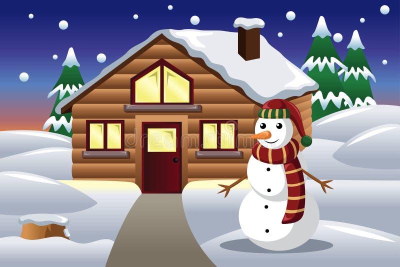 Schneemann vor einem Haus lizenzfreie abbildung