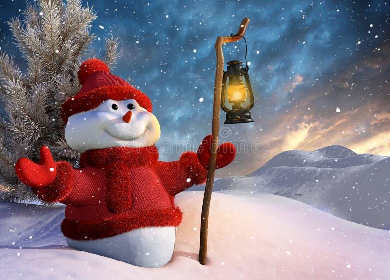 Schneemann am Weihnachten lizenzfreie abbildung
