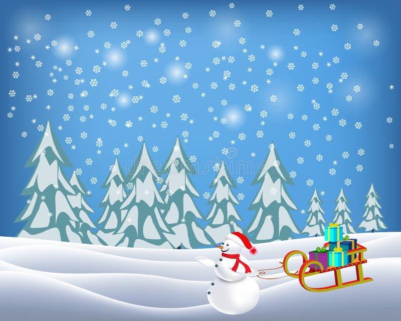Schneemann zog Pferdeschlitten voll des Geschenkes in der Weihnachtswinterlandschaft lizenzfreie abbildung