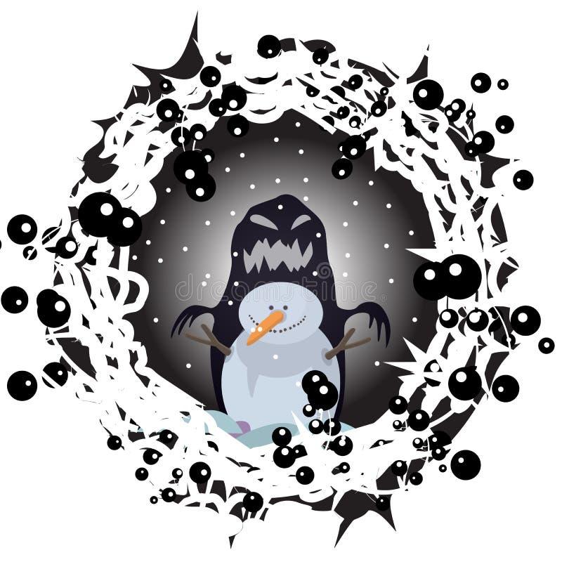 Schneemannnachtwinterhalloween-Charakterkarikaturanimationsdruck-Naturzeichnungen für Kinder vector g-Illustrationszeichnungsvekt lizenzfreie abbildung