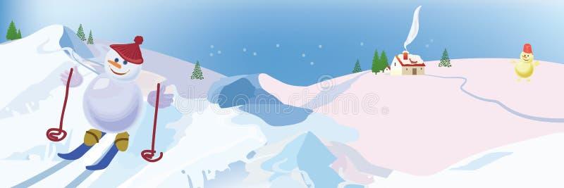 Schneemannskifahren stockbilder