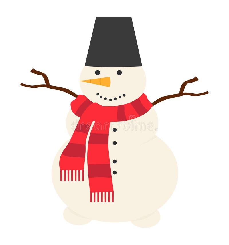 Schneemannvektorikonen-Weihnachtsillustration auf weißem Hintergrund vektor abbildung