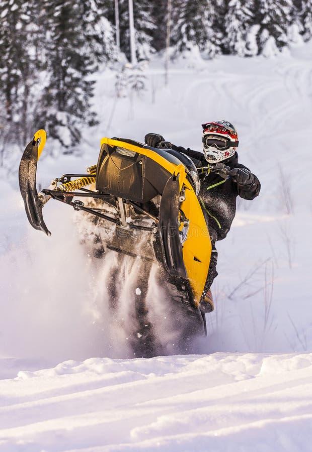Schneemobil fahrung Abenteuer lizenzfreie stockfotos