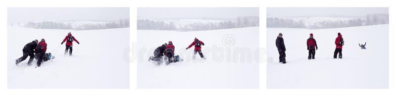 Schneeschieben stockbild
