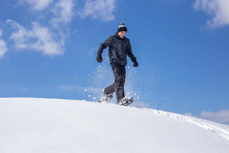 Schneeschuh-Betrieb lizenzfreie stockfotos