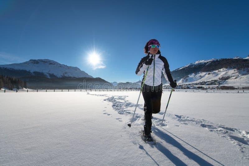 Schneeschuh-Fahrt in einer schneebedeckten Alpenlandschaft stockbilder