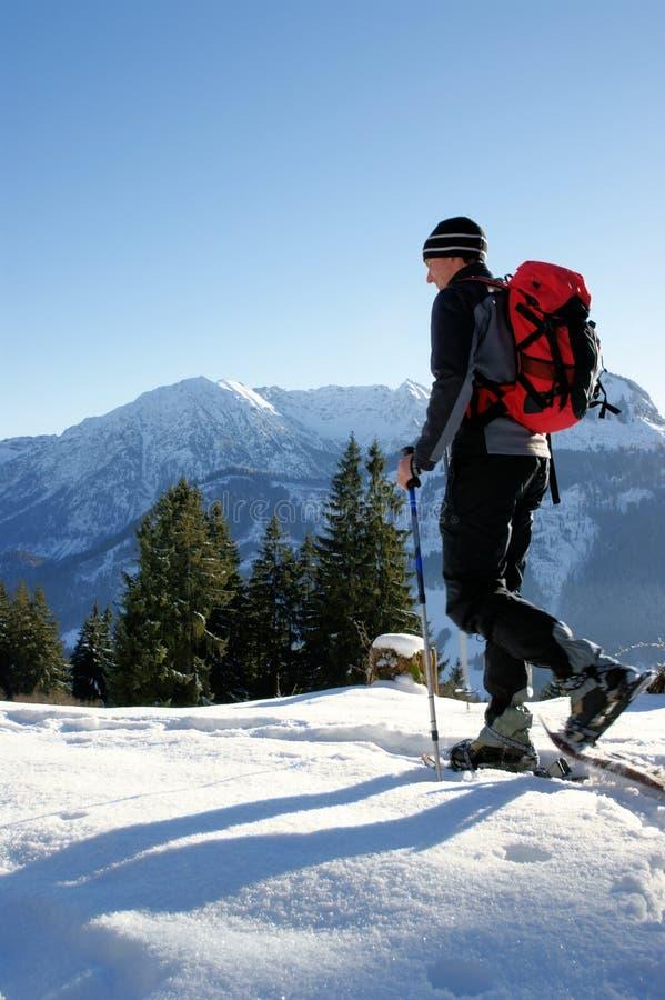 Schneeschuhwandern stockfoto