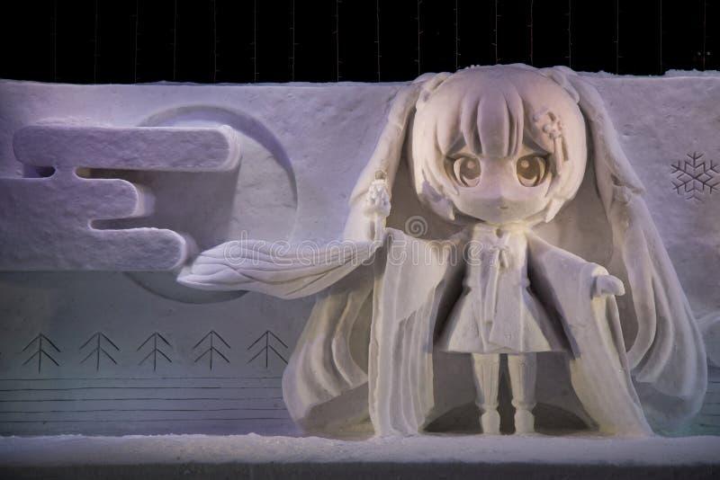 Schneeskulptur im Sapporo-Schnee-Festival stockfotos