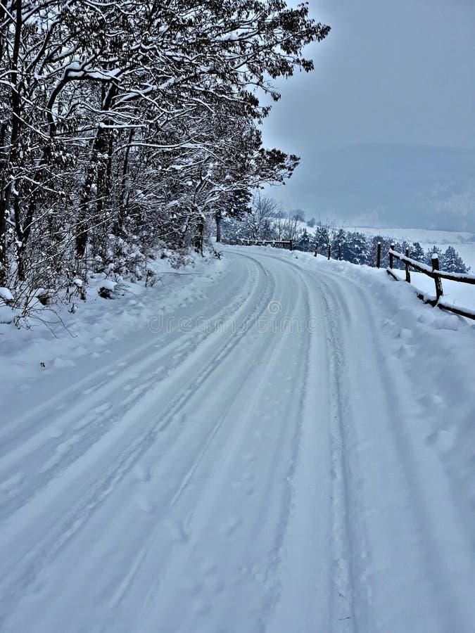 Schneestraße stockbild