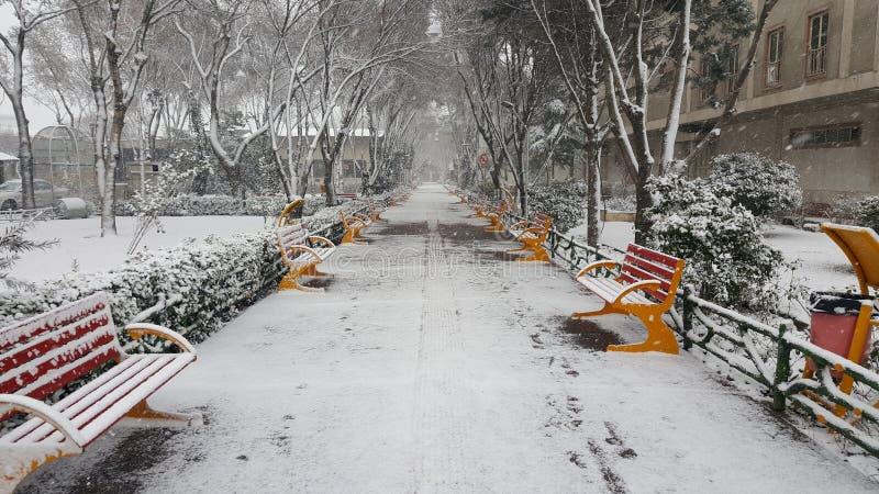 Schneestraße stockfotos