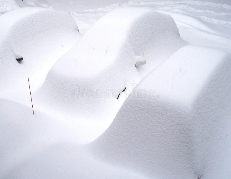 Schneesturm deckte Autos ab stockfotos