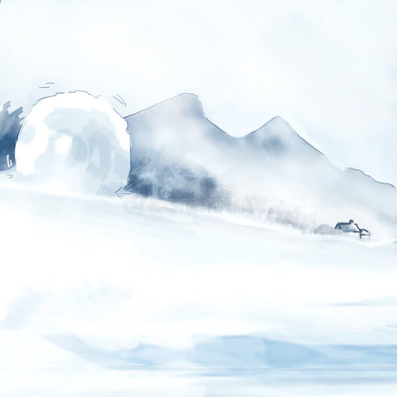 Schneesystemabsturz stock abbildung