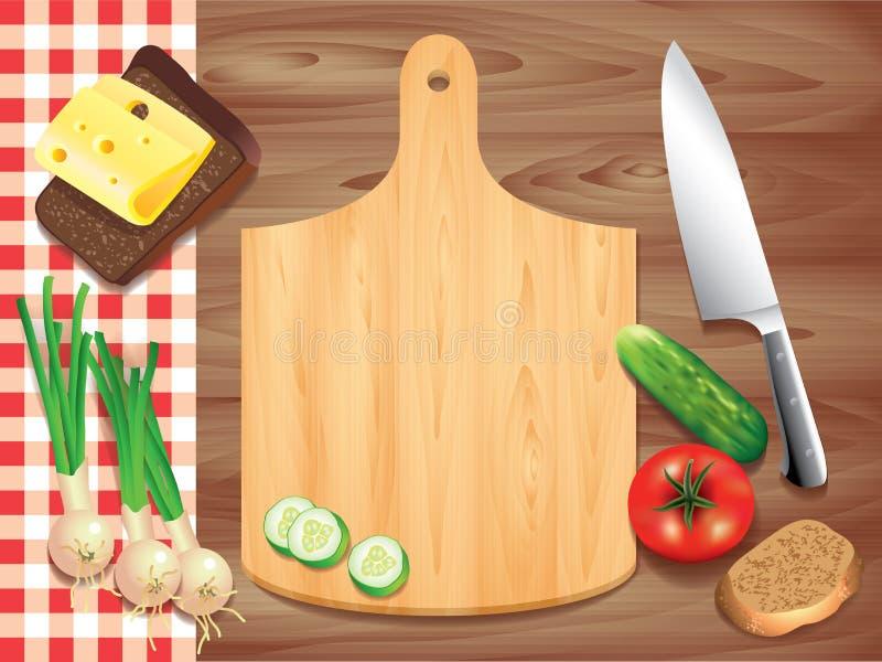 Schneidebrett auf Holztisch, Lebensmittelinhaltsstoffe stock abbildung