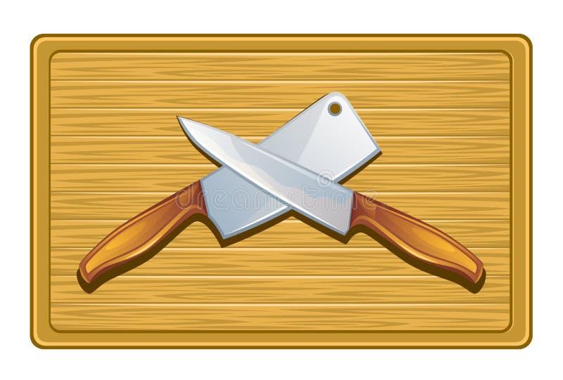 Schneidebrett mit Messern lizenzfreie abbildung