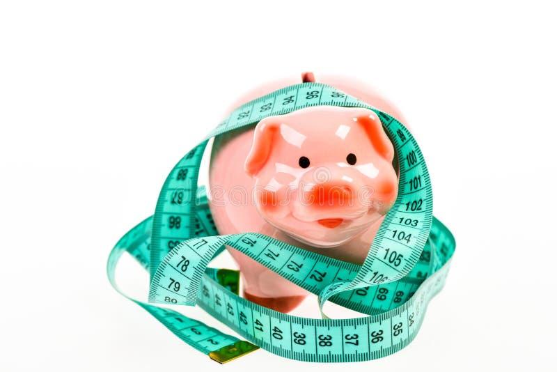 Schneiden Sie das Budget Wirtschafts- und Budgetzunahme schlechte Bezahlung Stecken eines Geldes in eine piggy Querneigung ablage lizenzfreies stockfoto