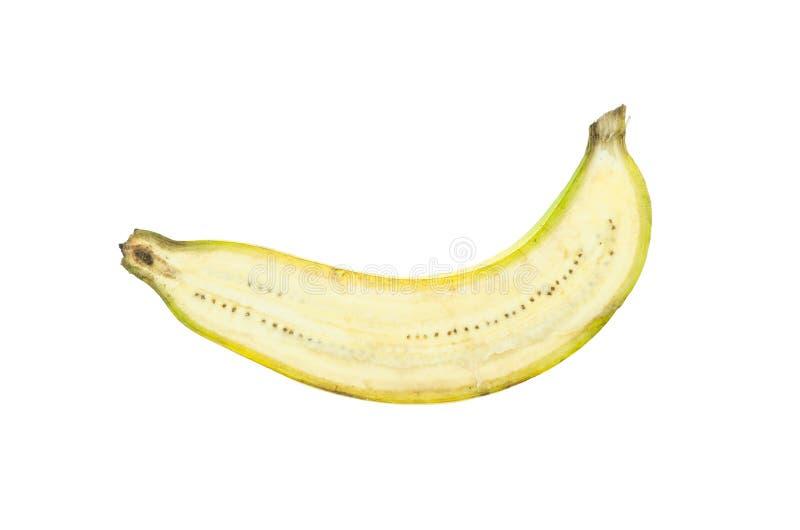 Schneiden Sie die rohe thailändische Banane, die auf weißem Hintergrund lokalisiert wird stockbild