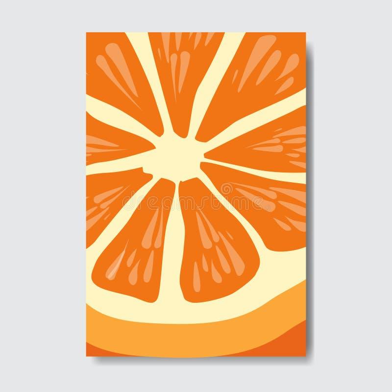 Schneiden Sie orange Schablonenkarte, Plakat der frischen Frucht der Scheibe auf weißem Hintergrund, Titelseitenvertikales Planbr lizenzfreie abbildung
