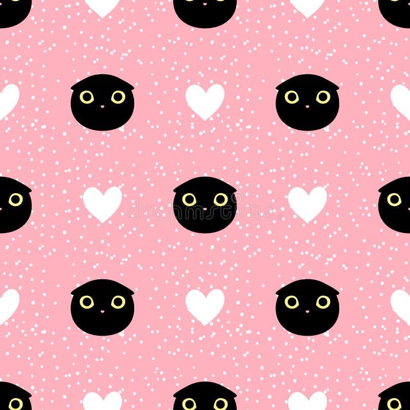 Schneiden Sie schwarze Hauptkatze mit nahtlosem Muster des Herzens und des Punktes stockfotografie