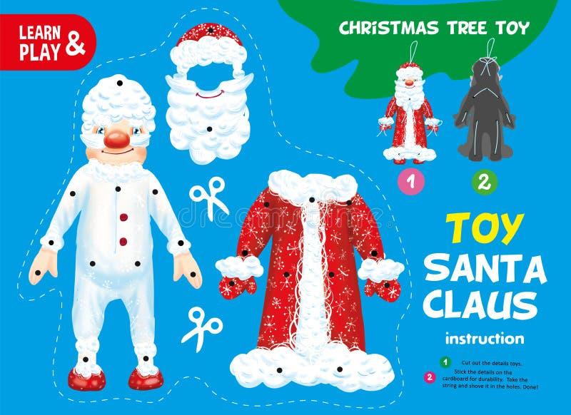 Schneiden Sie und Kleber-Papier-Weihnachtsbaum Toy Element lizenzfreie abbildung