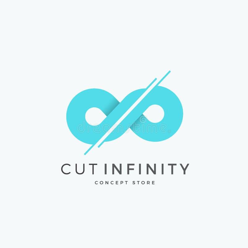 Schneiden Sie Unendlichkeits-abstraktes Vektor-Zeichen, Emblem oder Logo Template Geteiltes Ewigkeits-Symbol Modernes kreatives K vektor abbildung