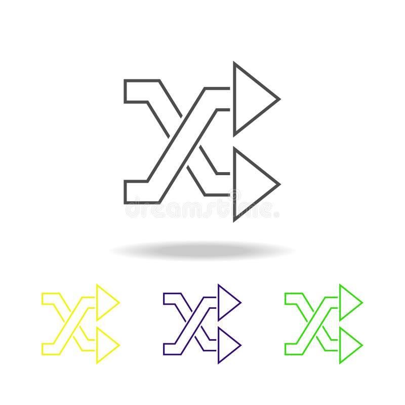 schneidene mehrfarbige Ikonen der Pfeile Dünne Linie Ikone für Websiteentwurf und Appentwicklung Erstklassige farbige Netzikone m lizenzfreie abbildung