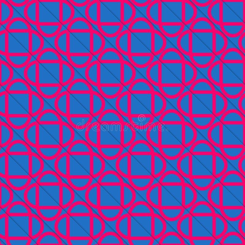 Schneidene Ovale blauen und rosa diagonal Schnittes Retro- 3D stock abbildung