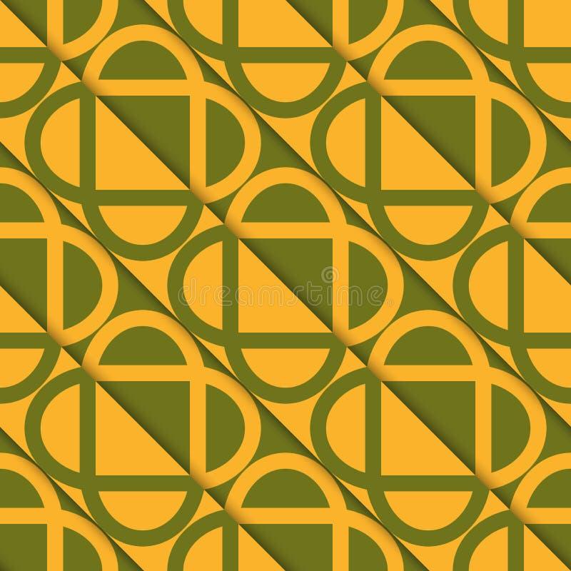 Schneidene Ovale grünen und orange diagonal Schnittes Retro- 3D stock abbildung