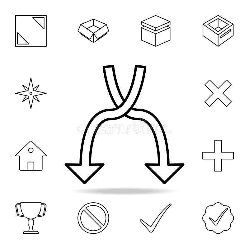 Schneidene Pfeilikone Ausführlicher Satz einfache Ikonen Erstklassiges Grafikdesign Eine der Sammlungsikonen für Website, Netz stock abbildung