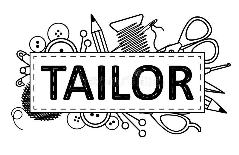 Schneiderlogoentwurf Kann als Aufkleber, Schild für Atelierstudio verwenden, usw. vektor abbildung