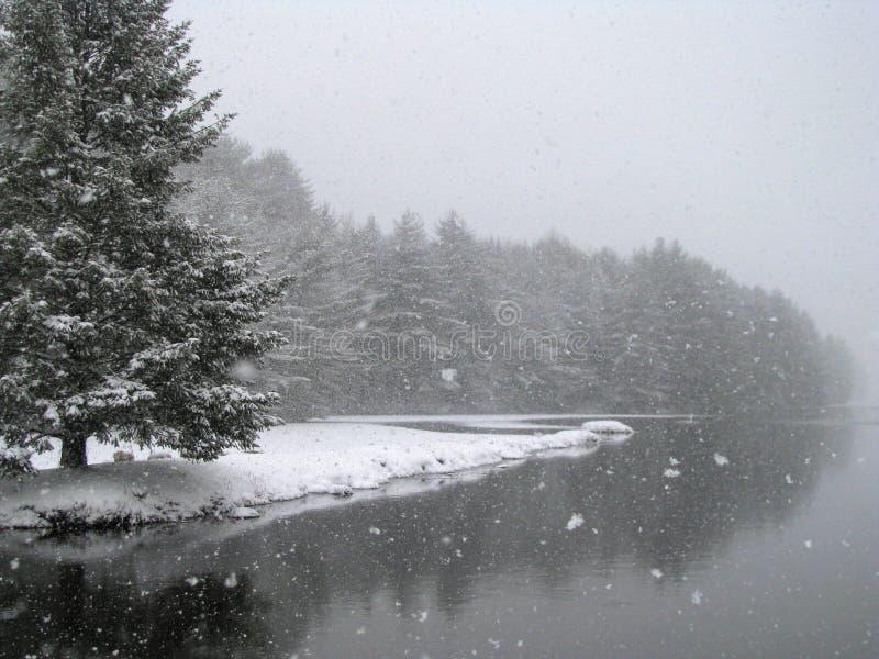 Schneien durch den See stockbild