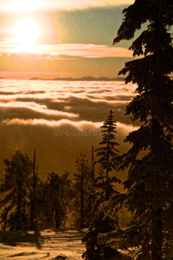 Schneien durch magischen Sonnenaufgang lizenzfreies stockfoto